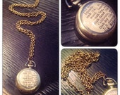 """Oakland Dictionary Cut-Out Watch Necklace - Brass Pocket Watch Necklace - 1.75"""" round - 30 inch long- Real working watch"""