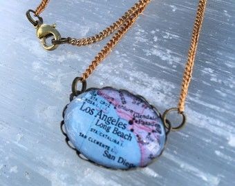 Los Angeles Long beach Map Necklace // collectable vintage style map necklace - Glass oval Map Jewelry