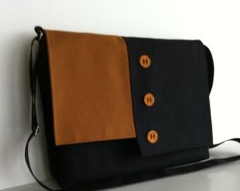 Black messenger bag , women men cross body bag , canvas school bag messenger , handmade shoulder bag   , black laptop bag , crossbody purse