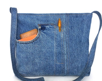 Jean crossbody bag, Denim messenger bag, school jean tote, recycled tote bag, Teens side purse, E-co bag, Vegan gift, Jean cross over bag