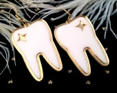 Mirrored Gold and White Tooth Earrings