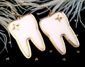 Tooth Teeth Laser Cut Mirrored Gold and White Acrylic Earrings