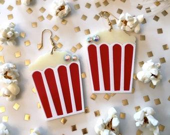 Popcorn Laser Cut Acrylic Earrings