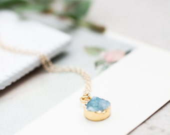 Sky Blue Druzy Quartz  Necklace, Blue Necklace, Gemstone Necklace