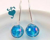 Light Sapphire Swarovski Faceted Crystal drop earrings Sterling Silver