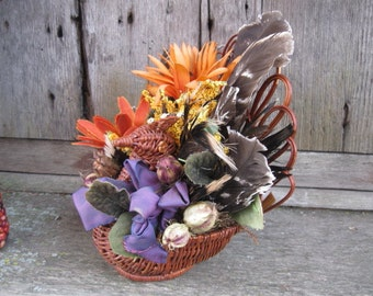 Turkey & Feather BASKET   Thanksgiving  CENTERPIECE decoration Small size