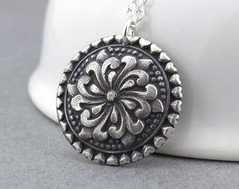 Tudor Rose Necklace Sterling Silver Necklace Silver Pendant Necklace Layering Necklace Mother's Day Gift for Her - Tudor Rose