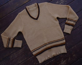 OHIO 1970's Vintage Light Brown Striped Men's V Neck Sweater w/ Long Sleeves // size Small Medium