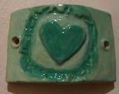 Tattered Heart Focal Bead Bracelet Bar Connector Bead Teal Aqua