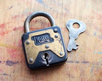 Antique Miller Padlock with Key