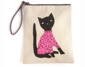 Cat Clutch bag, zipper Pouch with leather wristlet strap, Evening bag, Make up pouch or as a Cosmetics Bag.