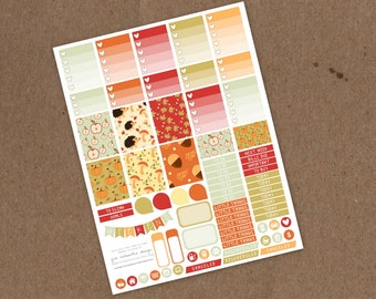 Printable Pine Cone Autumn Weekly Planning Sticker Kit- Ombre Check Boxes, Icon Stickers, Pattern boxes - ECLP, MAMBI Happy Planner, Filofax