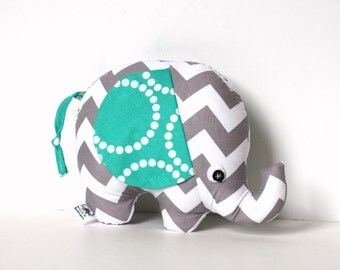 Gray and White Chevron Baby Boy Gift Stuffed Elephant Plush Softie