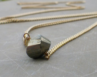 gold pyrite necklace, pyrite necklace, long gold pyrite necklace, natural stone, bohemian jewelry