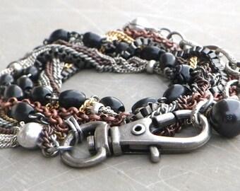 rosary wrap bracelet, long wrap bracelet, boho wrap bracelet, mixed metal chain wrap bracelet