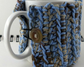 Crocheted Coffee or Ice Cream Cozy, Muted Blues and Browns (SWG-Z16)