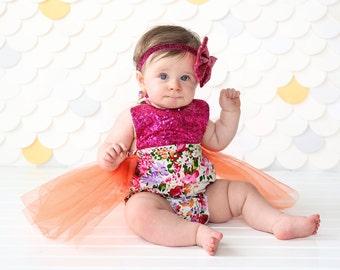 Romper - Tulle skirted, Skirted, Sequin Top Romper - Sequin Romper - Princess Romper - Birthday Romper - Photoshoot - Hot Pink Flower Romper
