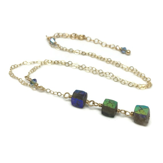 Labradorite Wire Wrapped Necklace, Gifted Collection, Gold Filled, Chain Necklace, Blue, Swarovski Crystals, Adjustable Lariat, Drop