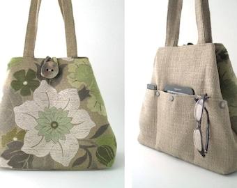 tote handbag, bag with pockets, floral tote bag, large handbag, shoulder purse, shoulder bag, floral handbag, diaper bag,