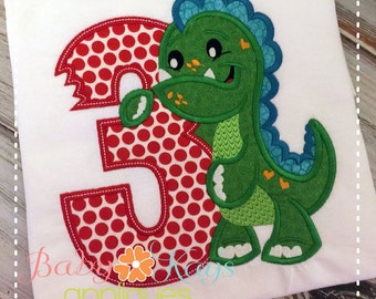Dinosaur Birthday Number Set 1-9 Applique Design 4x4, 5x7, 6x10, 8x8