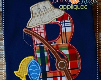 Fishing Alpha Applique Set A-Z 4x4, 5x7, 6x10, 8x8