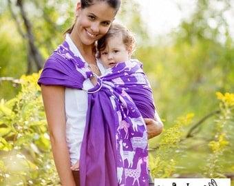 Sewfunky Designer Adjustable Baby Sling certified organic cotton Llama Love on Violet