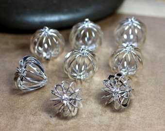 Silver Cage Finding Assortment Pumpkin and Heart Metal Pendant Cages Jewelry Making Lot