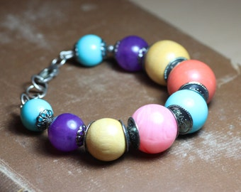 Colorful Bead Bracelet Bright Pink and Turquoise Bracelet Big Beads Antiqued Silver