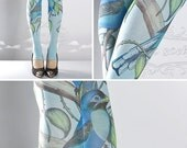 15%OFF/endsJUN28/ Tattoo Tights, Paradise light blue Open Toe and Heel one size full length printed tights, pantyhose, nylons, tattoo socks