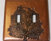 Tree of Life double toggle light switch cover in metallic rust