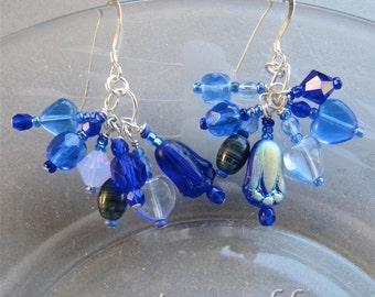 Asymmetrical Delicate Balance Blue Flower Earrings