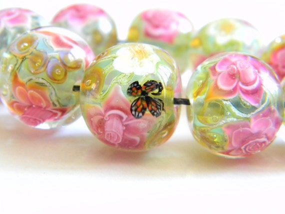 Lampwork Glass Beads - Opal green, white and light pink flowers 16 mm bead - Peacock Treasures Collection