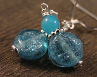 Turquoise blue silver foil glass lentil beads, jade stone handmade silver earrings