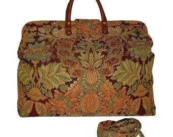 Burgundy Floral Medallion Tapestry Carpet Bag