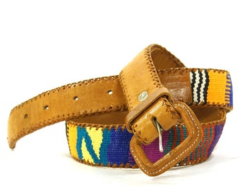 80s Guatemalan Belt / Vintage 1980s Southwest Style Woven Cotton Belt with Leather Trim / Hippie Boho South American Ethnic