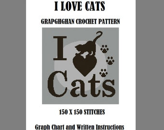 I Love Cats - Graphghan Crochet Pattern