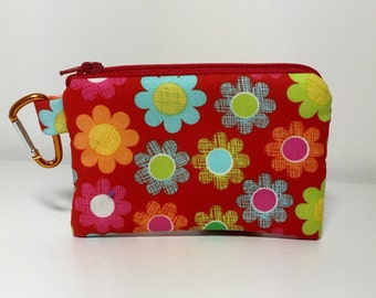 Carabiner Coin purse Red Cross Hatch Flowers