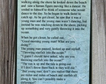 The Starfish Poem Once Upon A Time, Wood Print Plaque Real Starfish Nautical Inspiration