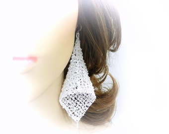 Wire Crochet Earrings, Lace Earrings, White Bridal Earrings, Wedding Earrings, Wedding Jewelry, Fairy Bells, Knitted Wire, By Durango Rose