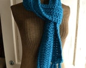 Teal Blue Scarf Extra Long with Fringe