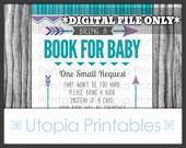 Tribal Baby Shower Book Request Card Insert Teal Purple Gray Chevron Arrows Theme Geometric Shape Digital Printable Grey Aqua Blue Turquoise