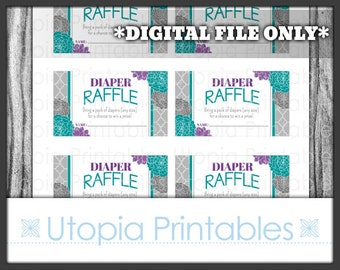 Teal Purple Diaper Raffle Ticket Card Insert Baby Shower Flowers Floral Theme Party Favor Digital Printable Aqua Blue Print At Home DIY Grey