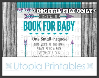 Tribal Baby Shower Book Request Card Insert Teal Purple Gray Chevron Arrows Theme Geometric Shape Digital Printable Grey Aqua Blue Turquoise