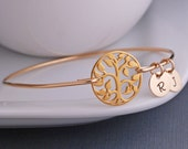 Gold Tree of Life Bracelet, Family Tree Jewelry, Tree Bangle Bracelet