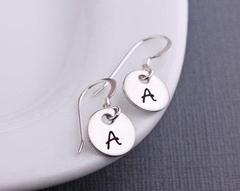 Initial Earrings, Any Letter, Personalized Letter Earrings in Silver, Birthday Gift for Her, Monogram Earrings