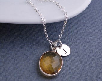 Yellow Topaz Necklace, Personalized Gemstone Necklace, Sterling Silver Necklace, November Birthstone Jewelry