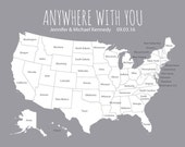 Personalized Map - US Travel Map - United States Pin Map - Where We've Been Map - Wedding Gift for Newlyweds - First Year Paper Anniversary