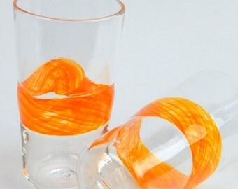 Hand Blown Art Glass Sun Band Pint Glasses, Tumblers Barware Wedding Registry Gifts