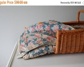 sale Antique Whole Cloth Quilt / Beautiful vintage Primitive Blanket / Faded Floral Fruit Print / Tattered Layers / Cotton Batting / Distres