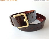 sale vintage 60s unisex Mod patent Leather Belt in chocolate brown / brass hues buckle with patina / cut out leather